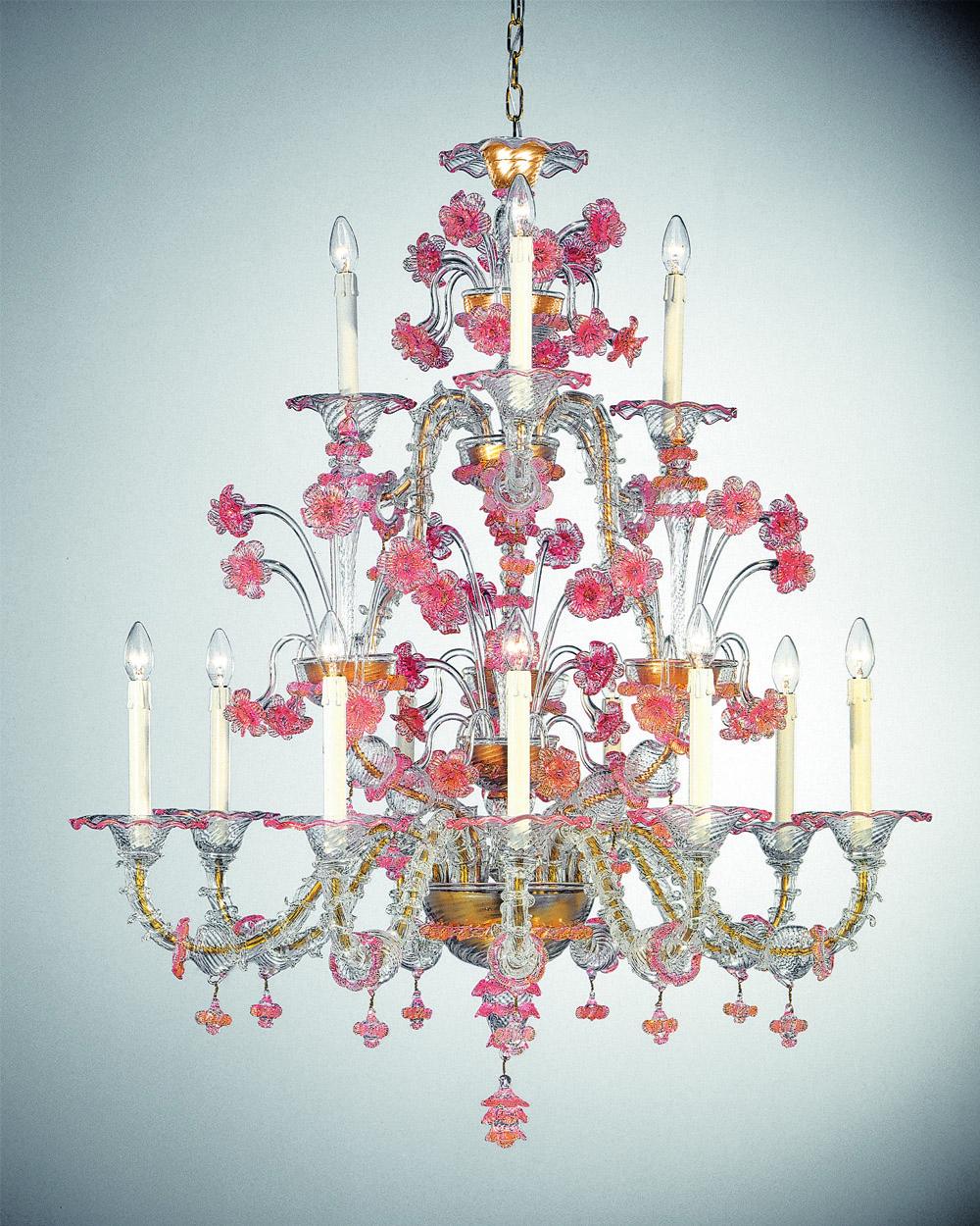 Boccolo-9+3 trasparente decoro oro e rosa