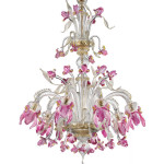Iris-8C trasparente decoro oro e pasta rosa