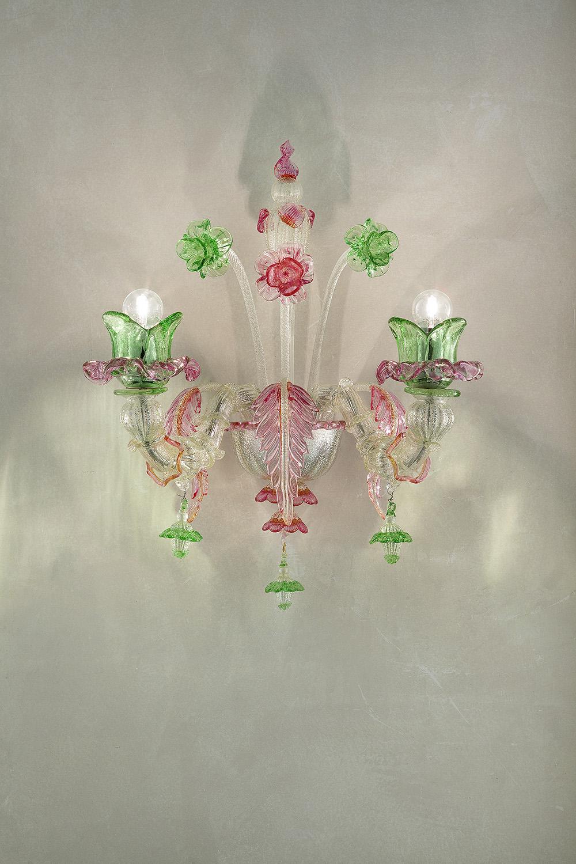 Od-A2 argento decoro verde e rosa
