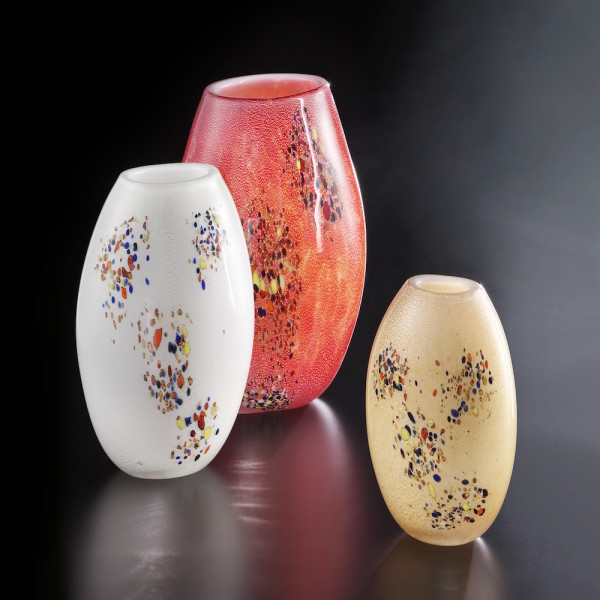 Tondo medio bianco argento policromo - Tondo grande rosso argento policromo - Tondo piccolo ambra argento policromo